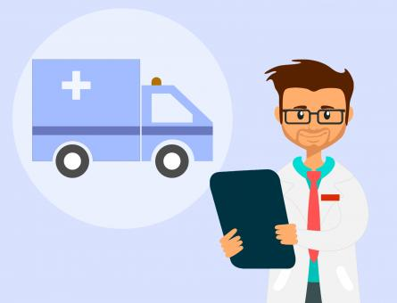 Free Stock Photo of Ambulance Doctor Illustration