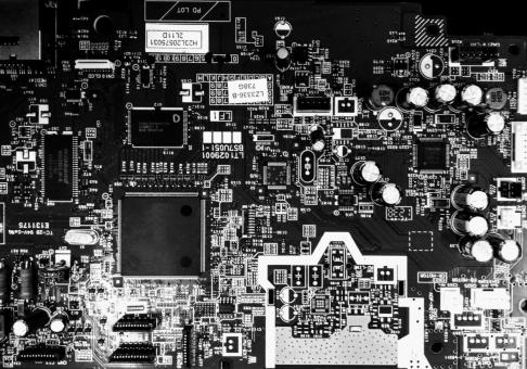Free Stock Photo of Computer Circuit Board in Black and White