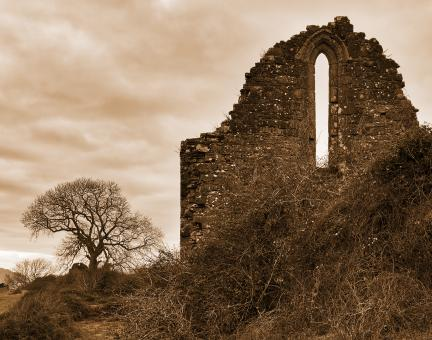 Free Stock Photo of Sepia Penmon Priory Ruins