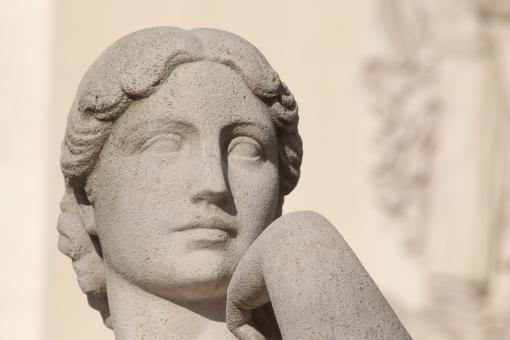 Free Stock Photo of Limestone sculpture of woman (detail)