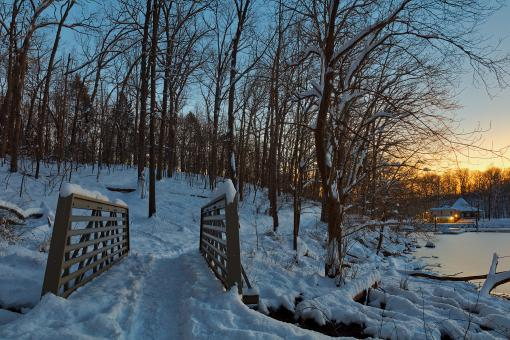 Free Stock Photo of Winter Twilight Trail Bridge - Lake Needwood