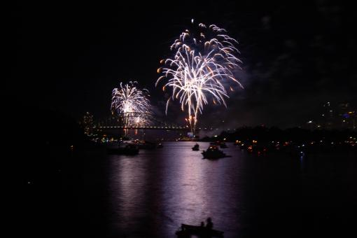 Free Stock Photo of Fireworks Over the Sydney Harbour Bridge