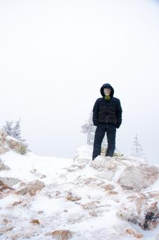 Free Stock Photo of Man in mask in snow landscape