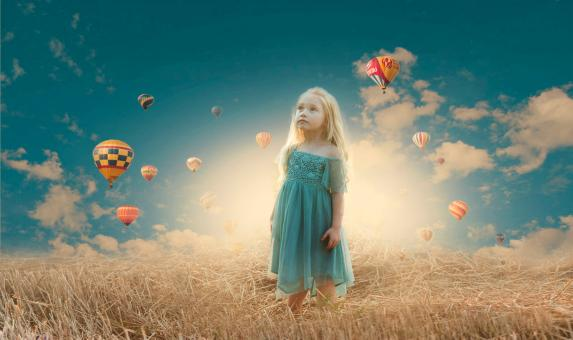 Free Stock Photo of Little Girl and the Balloons