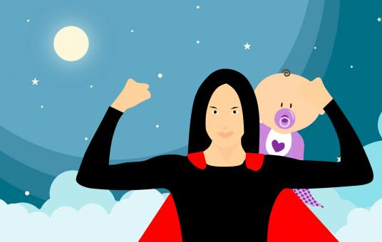 Free Stock Photo of Super Mother Illustration