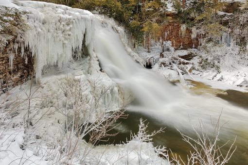 Free Stock Photo of Winter Wonderland Waterfall