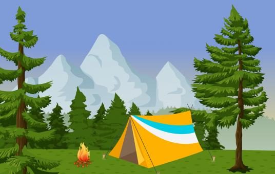 Free Stock Photo of Forest Camp Illustration