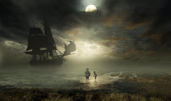 Free Stock Photo of Fantasy Pirate Ship at Night