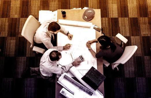 Free Stock Photo of Small Team at Work - Teamwork - Top View