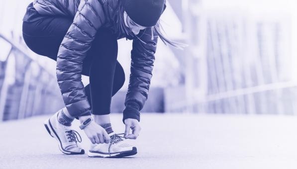 Free Stock Photo of Woman Getting Ready to Run - Urban - Cold Colors