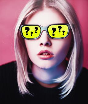 Free Stock Photo of Questions and Doubts - Girl with Yellow Glasses with Questions Marks