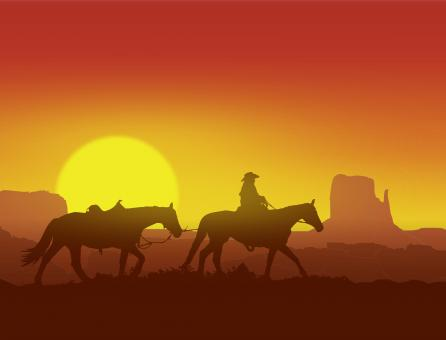 Free Stock Photo of Lone Cowboy at Sunset in Monument Valley - Wild West Concept