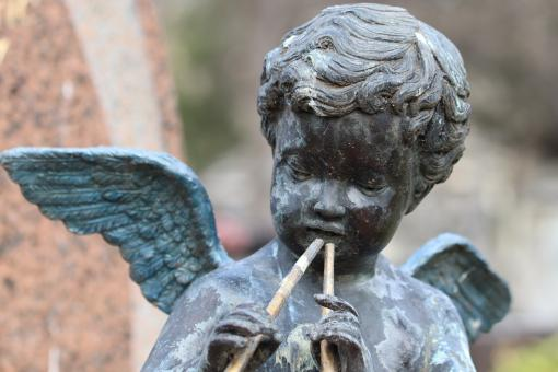 Free Stock Photo of Close-up of child funerary monument