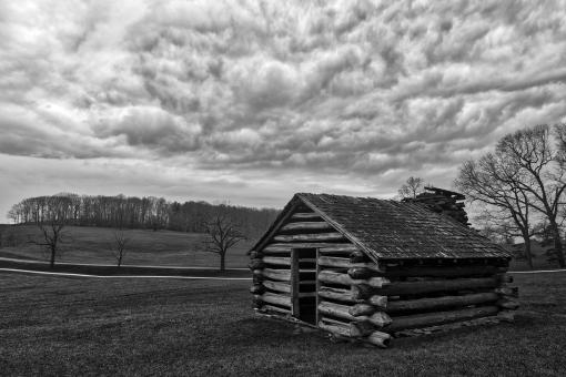 Free Stock Photo of Valley Forge Cabin Cloudscape - Black & White