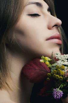 Free Stock Photo of Portrait of woman with flowers