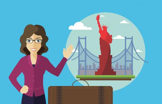 Free Stock Photo of Traveling to USA - Illustration