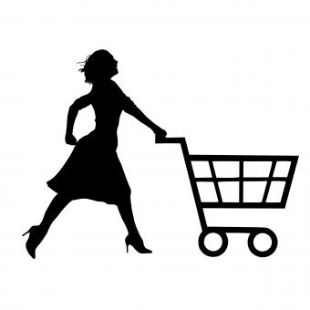 Free Stock Photo of Woman Shopping Silhouette
