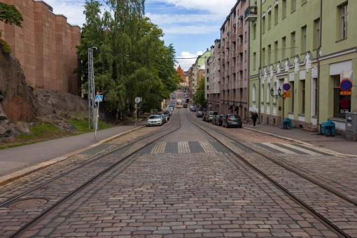 Free Stock Photo of Helsinki street showing tracks and crosswalk