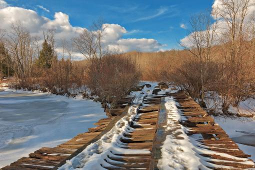 Free Stock Photo of Rickety Winter Bridge - Canaan Valley