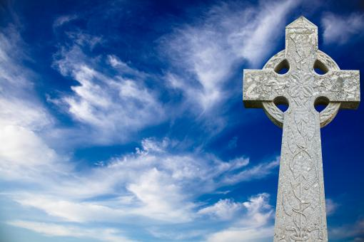 Free Stock Photo of Celtic Cross Clouds
