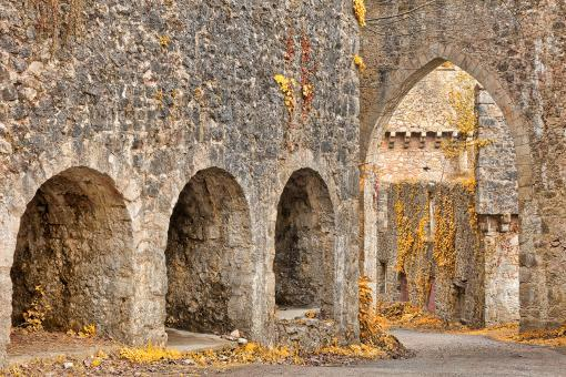 Free Stock Photo of Gwrych Castle Arches - Gold Decadence