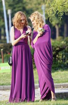 Free Stock Photo of Young Women in Purple Dress