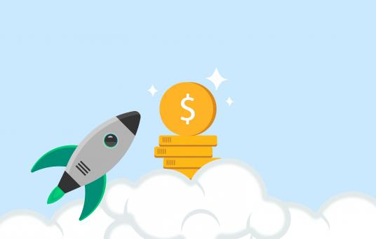Free Stock Photo of Money Rocket Illustration