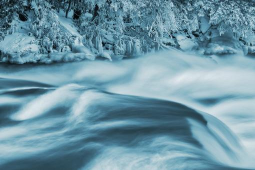 Free Stock Photo of Blue Winter Stream - Swallow Falls