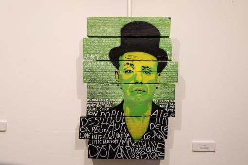 Free Stock Photo of Graffiti painting of a man in an art museum