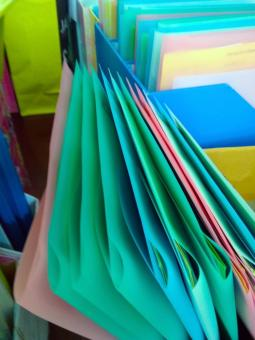 Free Stock Photo of Colorful files in an office