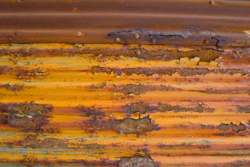 Free Stock Photo of Corrugated Rusted Metal Fence