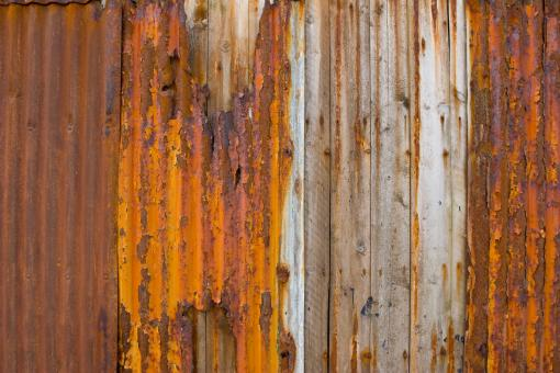 Free Stock Photo of Rusty and Grunge Corrugated Metal