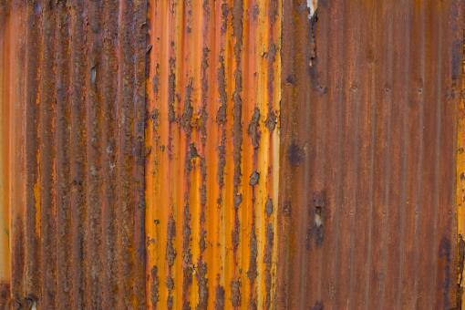Free Stock Photo of Rusted Corrugated Metal Fence