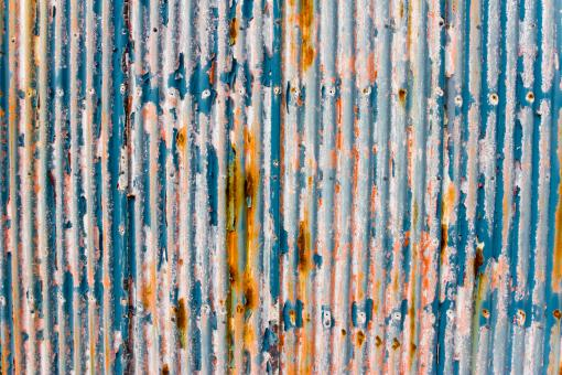 Free Stock Photo of Blue Paint Peeling on Corrugated Metal