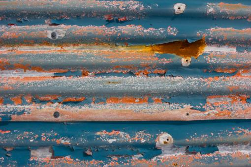 Free Stock Photo of Corrugated Metal with Peeling Paint and Rust
