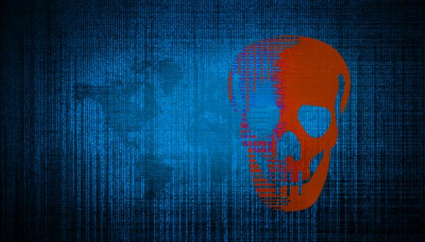 Free Stock Photo of Cybersecurity Threats - Matrix and Digital Skull