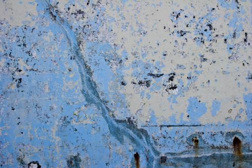 Free Stock Photo of Cracked Grungy Blue Wall