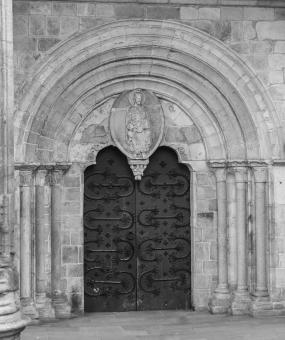 Free Stock Photo of Church Door - Black and White