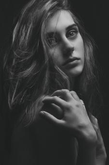 Free Stock Photo of B&W Portrait of a Woman