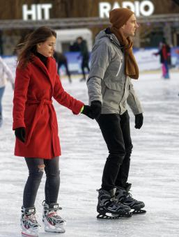 Free Stock Photo of Couple on ice skating rink