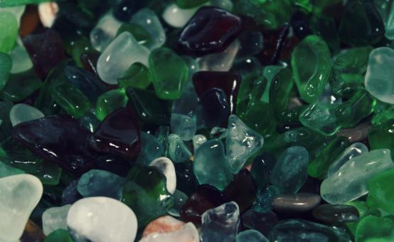Free Stock Photo of Pebbles and colourful shards of glass