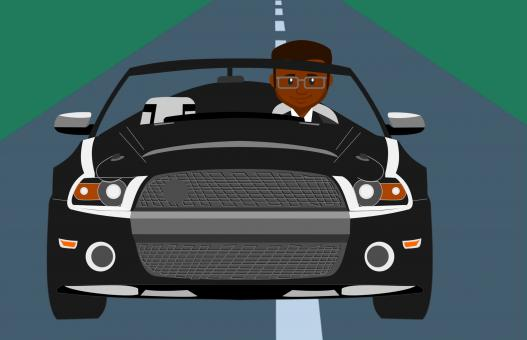 Free Stock Photo of Illustration African American Man Driving Car