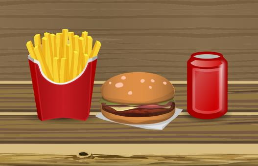 Free Stock Photo of Burger and Fries Illustration