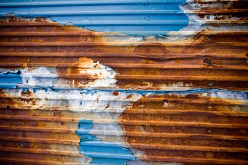 Free Stock Photo of Eroded Corrugated Metal