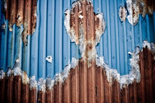 Free Stock Photo of Dark Rust on Corrugated Metal