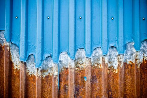 Free Stock Photo of Rusted Blue Corrugated Wall