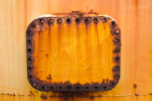 Free Stock Photo of Rusted Metallic Lid and Rivets