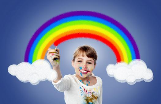 Free Stock Photo of Cute Girl Painting Rainbow - Happiness - Joy - Creativity