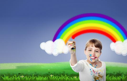 Free Stock Photo of Girl Painting Rainbow - With Copyspace - Happiness - Creativity