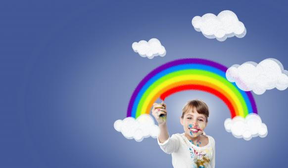 Free Stock Photo of Girl Painting Rainbow - With Copyspace - Happiness - Joy
